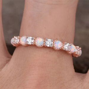 Rose Gold Opal Fire Stone Ring